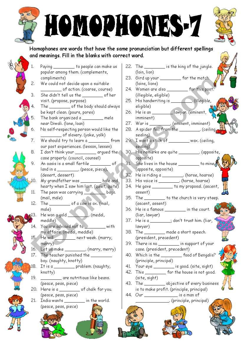 Homophones-7 (Editable with Answer Key)
