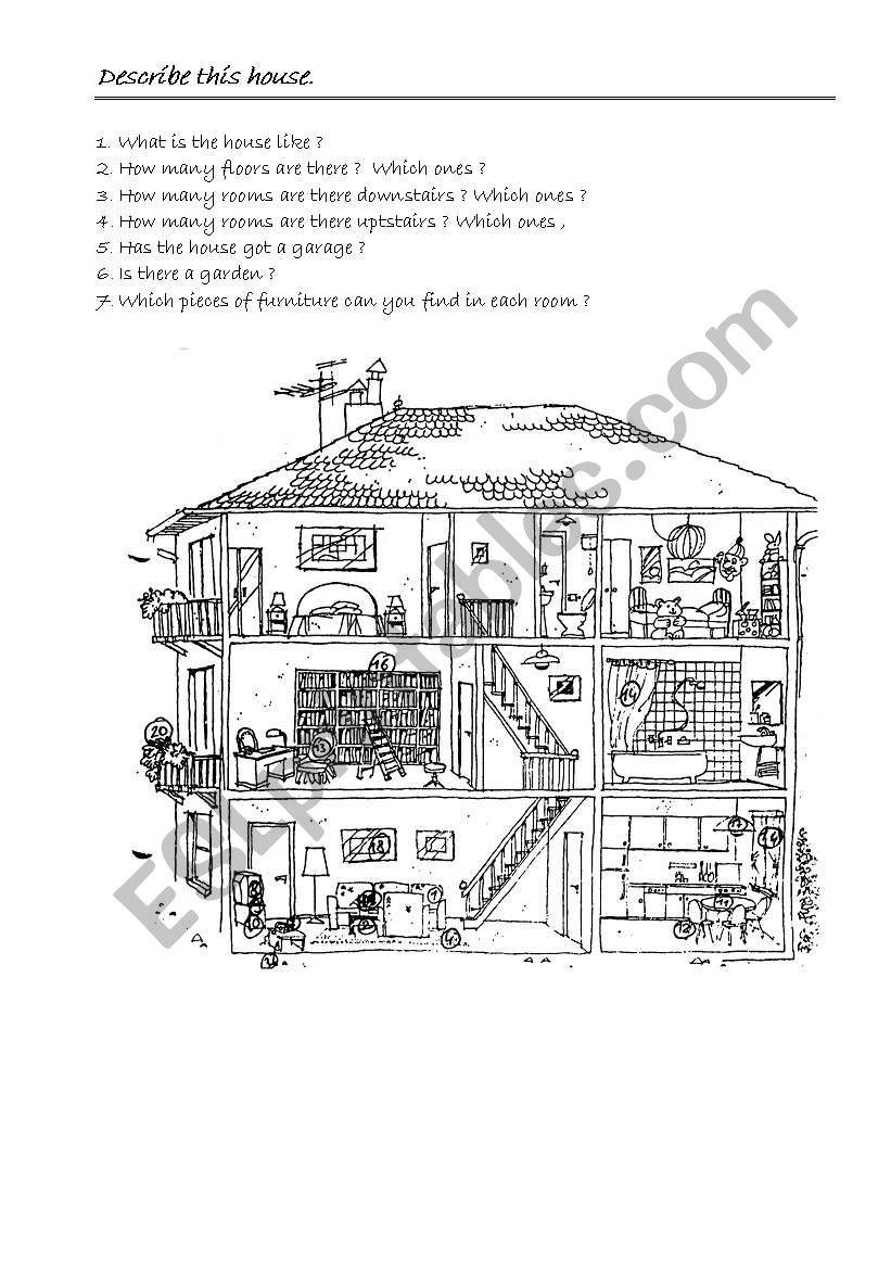 HOUSE DESCRIPTION worksheet