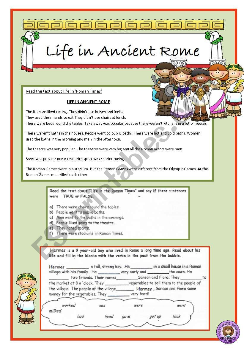 Life in ancient Rome worksheet