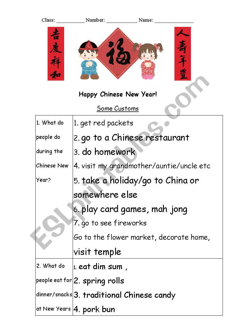 Chinese New Year Esl Worksheet By Padge48
