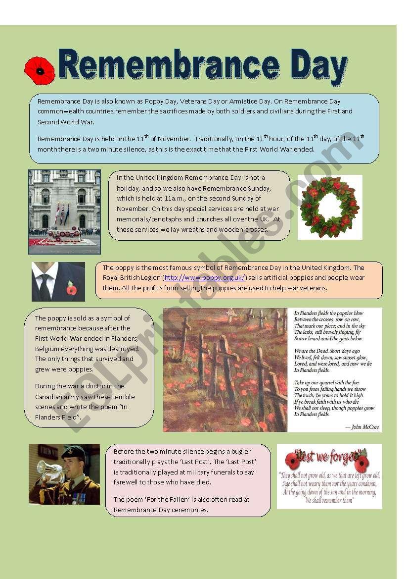 Remembrance Day Esl Worksheet By Shurik