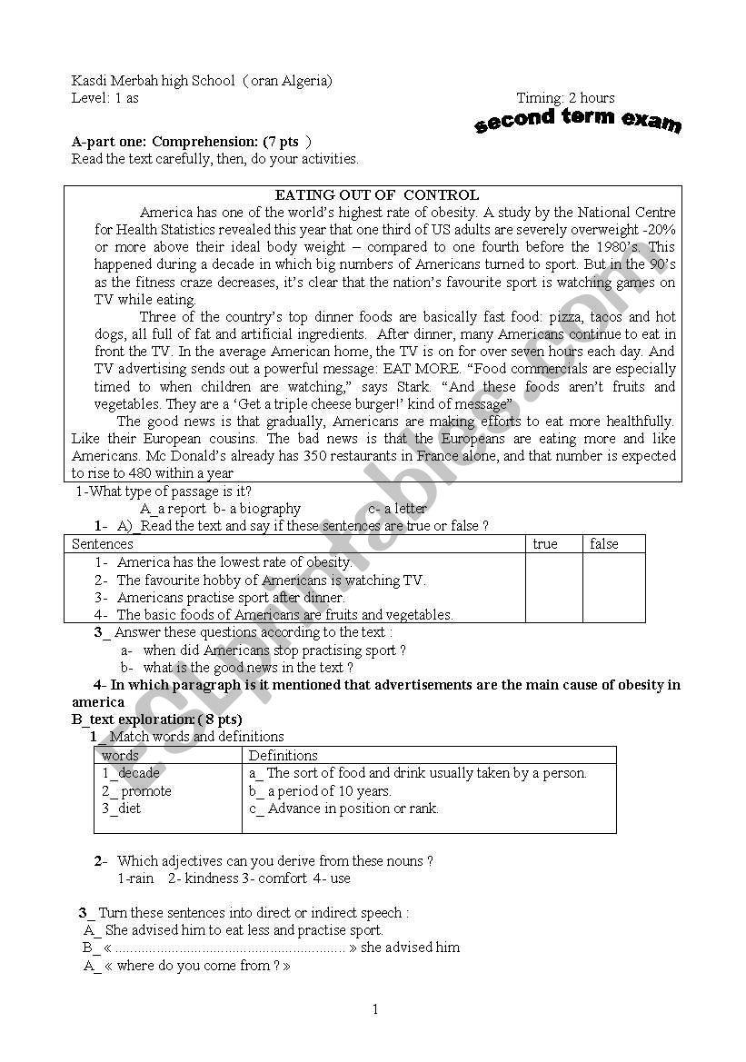 exam paper for 1st year secondary school ( scientific streams in Algeria.