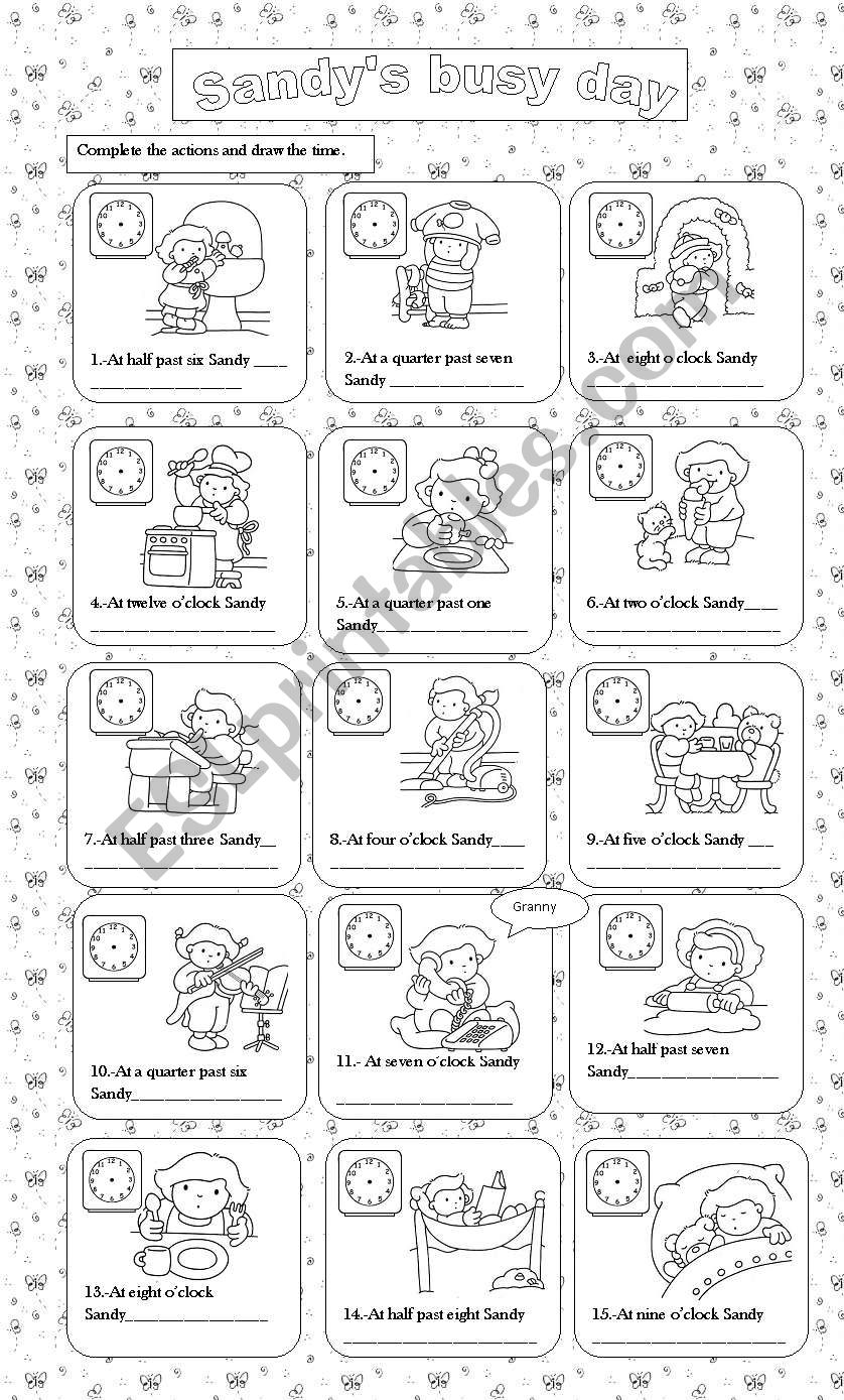 Sandy´s busy day worksheet
