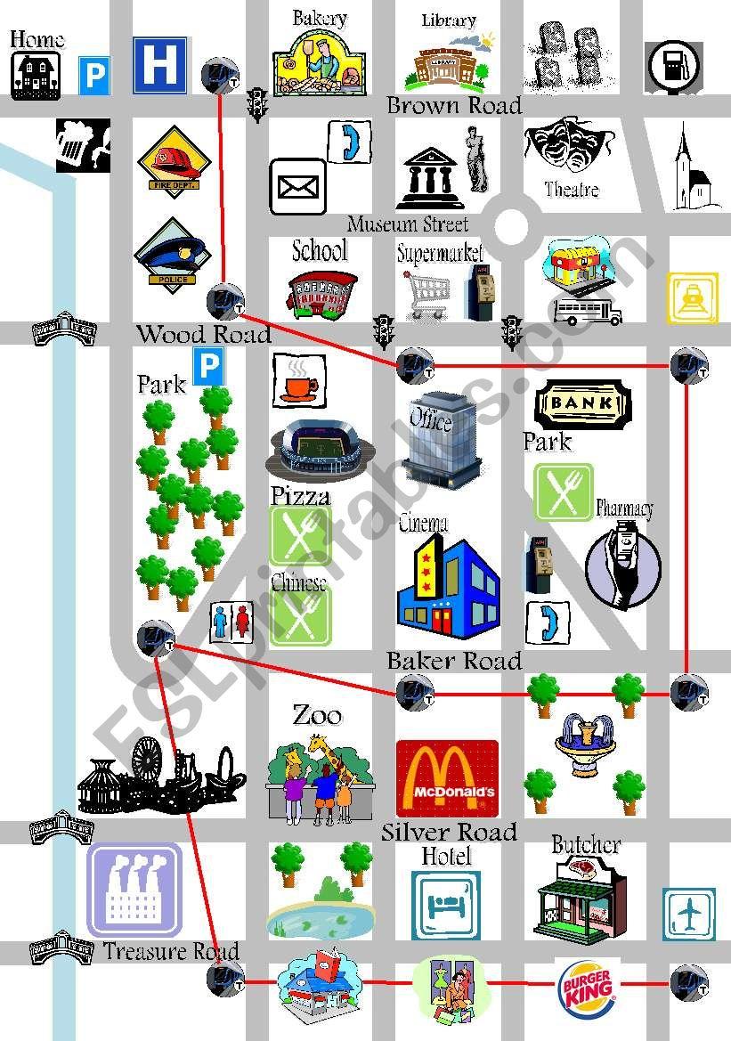 directions map esl worksheet by. Black Bedroom Furniture Sets. Home Design Ideas