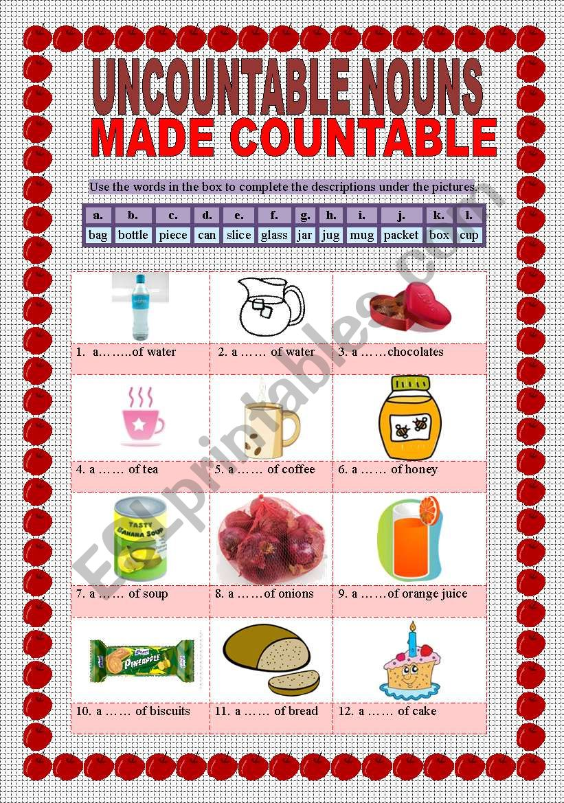 UNCOUNTABLE NOUNS MADE COUNTABLE