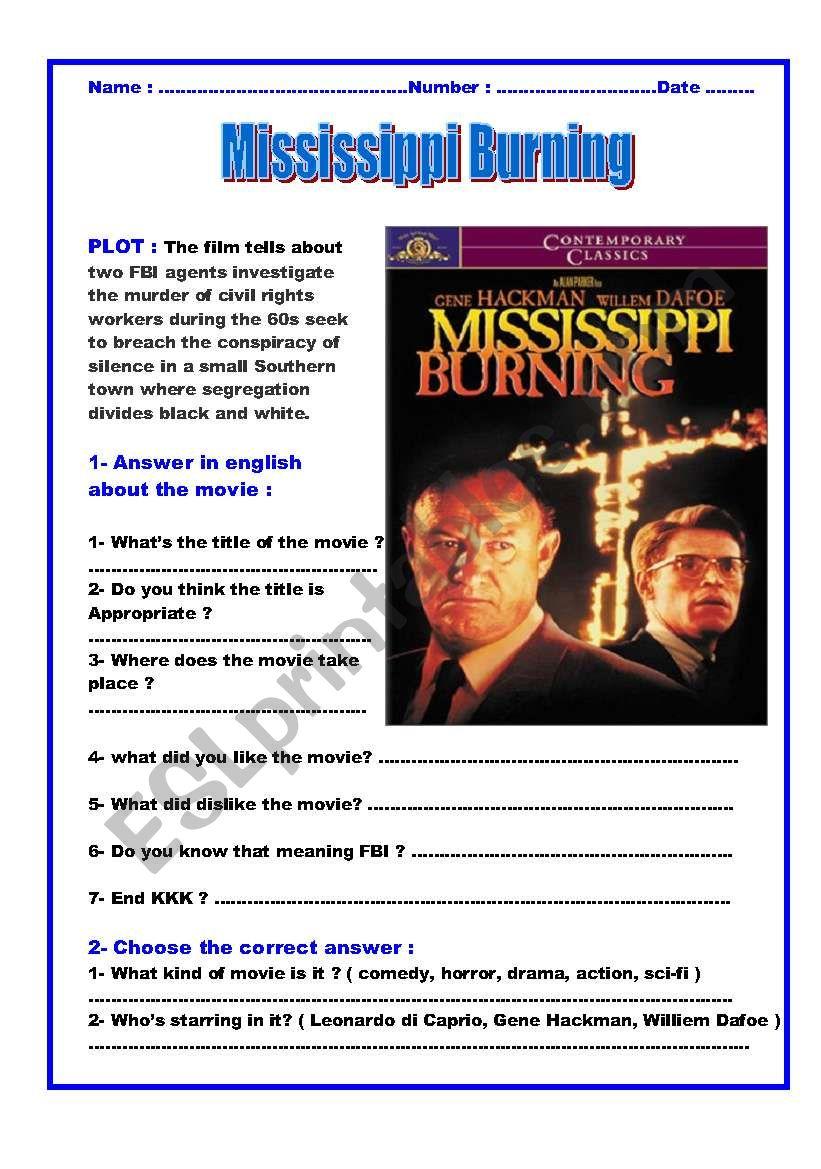 Movie Mississippi Burning Esl Worksheet By Magdala