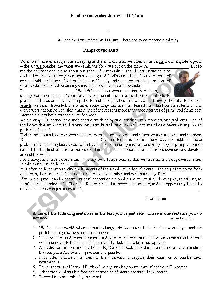 Respect the land- Al Gore worksheet