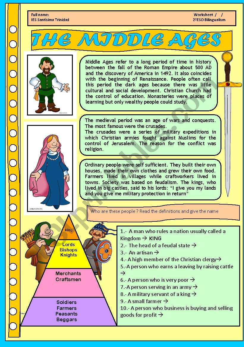 THE MIDDLE AGES FOR CHILDREN. 4 PAGES WITH ACTIVITIES