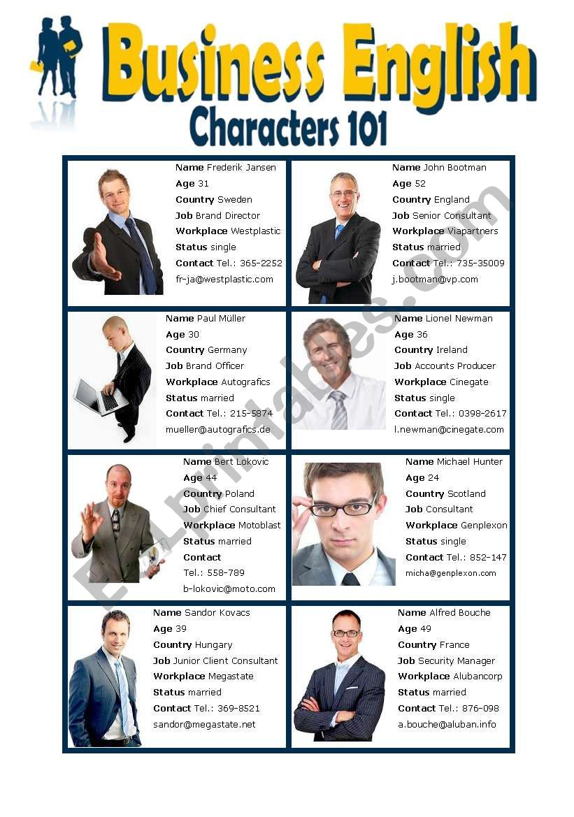 Business English - Characters 101 - Male and Female - Elementary Speaking - Group Activity and Role Play - Introduction