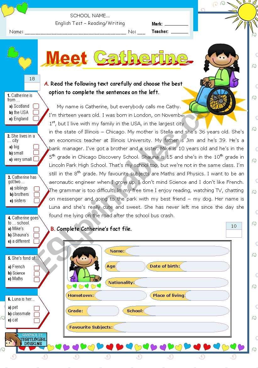 Meet Catherine  -  Reading + Writing Test