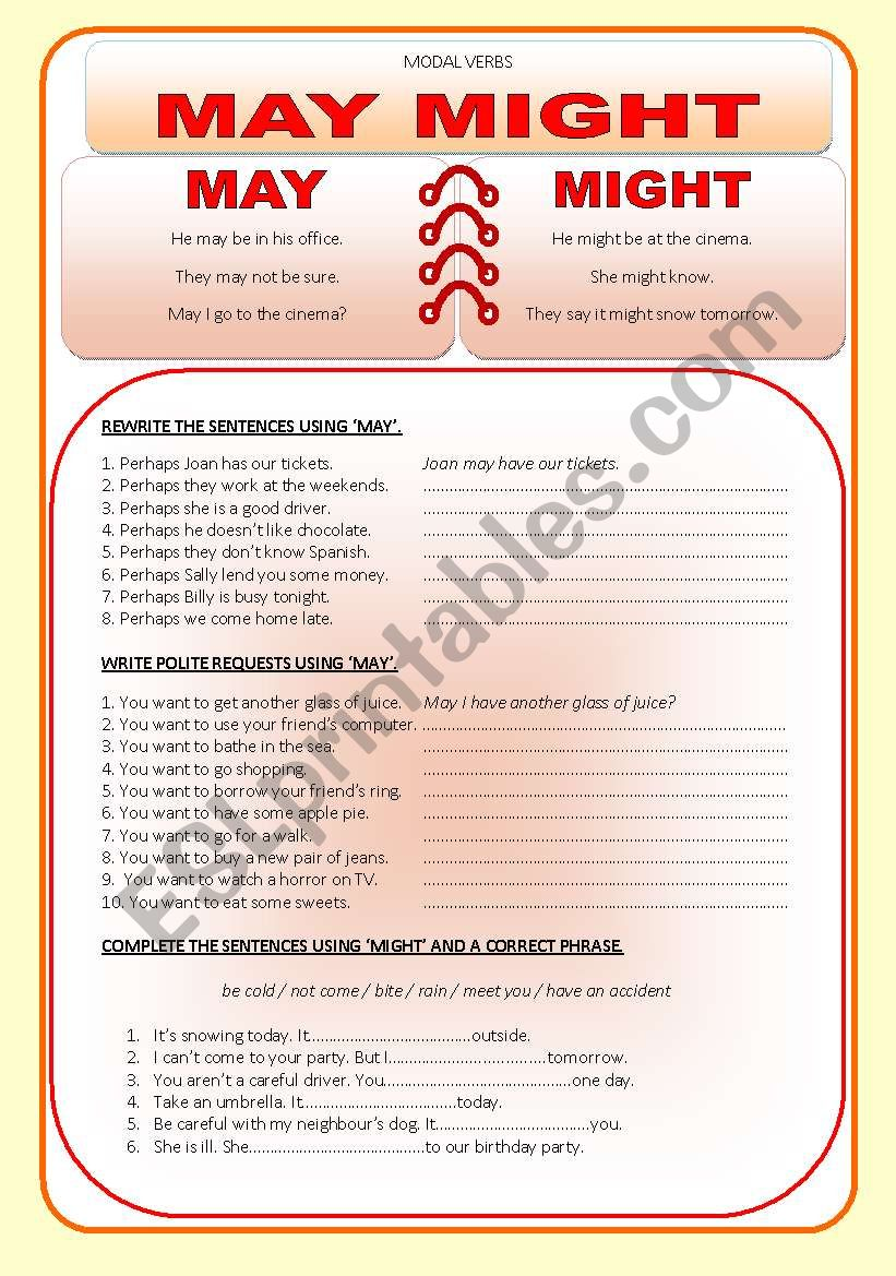 Modal verbs - MAY / MIGHT worksheet