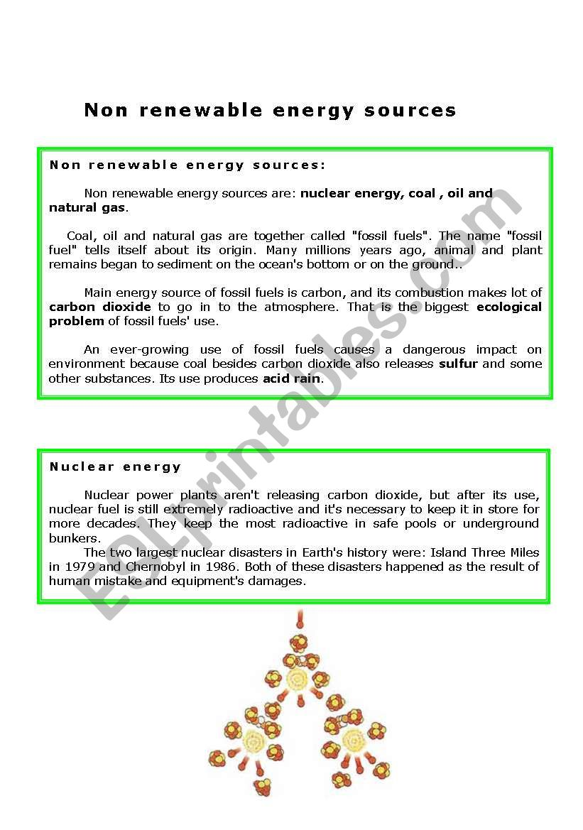 Non renewable energy sources worksheet