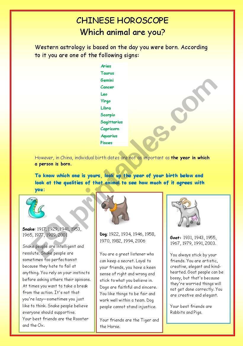 Chinese Horoscope worksheet