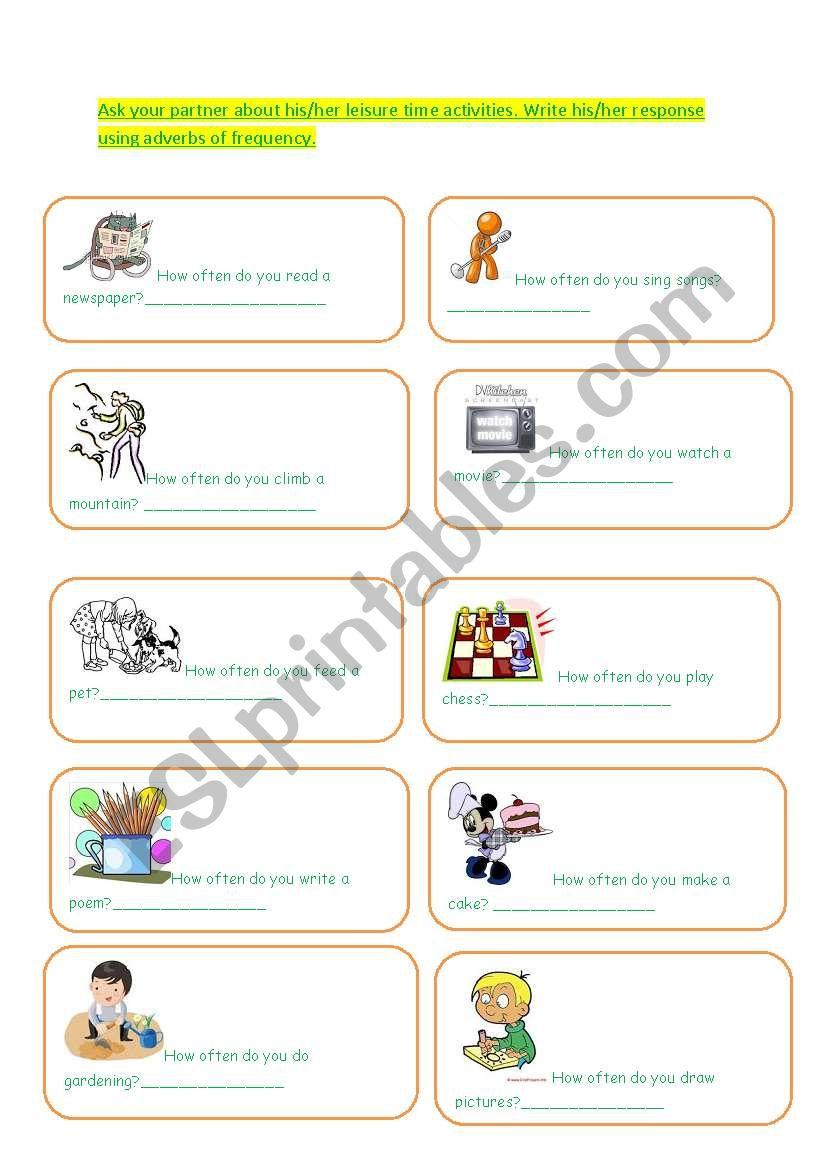 HOW OFTEN worksheet