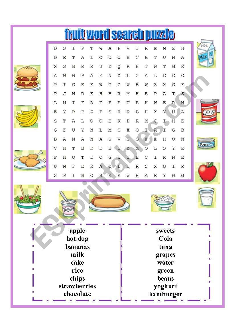 word search puzzle food worksheet