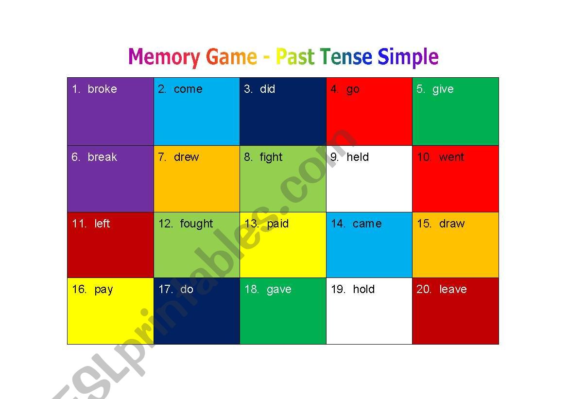 Memory Game - Past Tense Simple