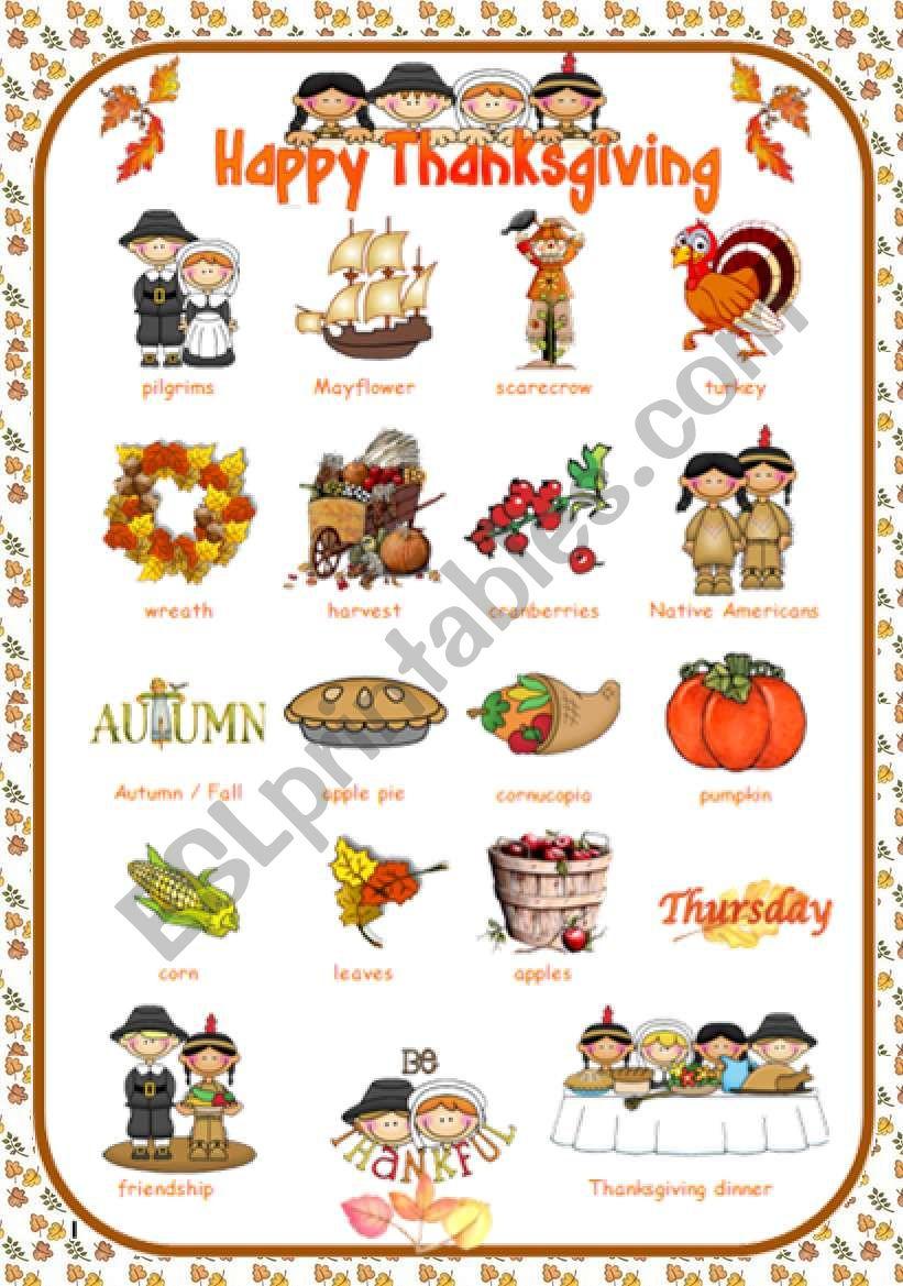 Thanksgiving Pictionary worksheet