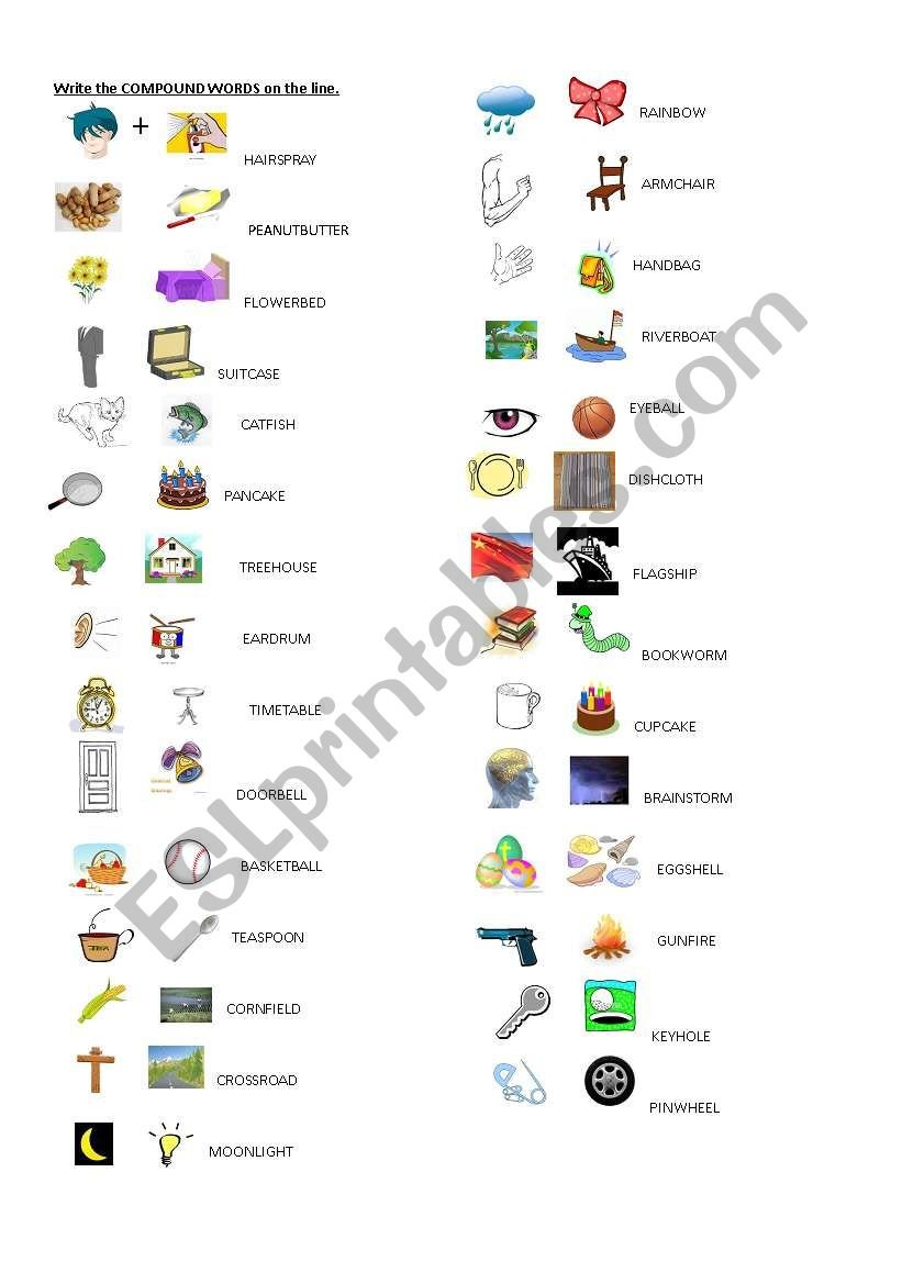 image regarding Printable Compound Word Games referred to as substance terms match - ESL worksheet via hlan
