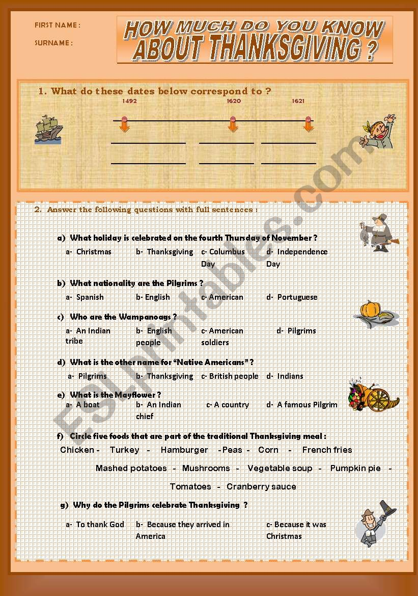HOW MUCH DO YOU KNOW ABOUT THANKSGIVING - a quiz