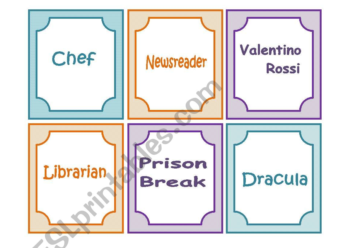Charades ( 60 Flash cards) worksheet