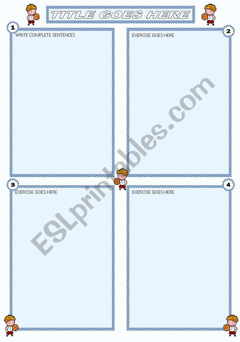 light blue template worksheet
