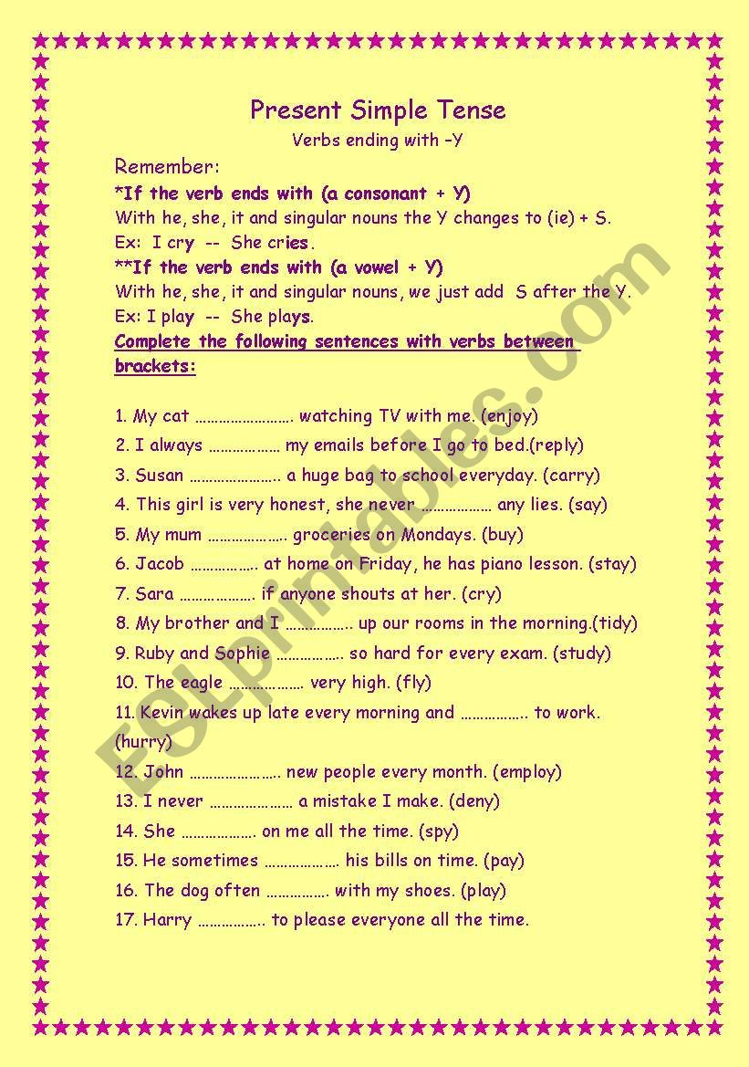 Spelling Patterns Worksheet   Nouns and Verbs Ending in Y moreover Worksheets Verbs Ending In Ing   Free Printables Worksheet moreover  additionally words ending in y worksheets – lenhdeche besides Verbs Ending in Y   Worksheet   Education besides  as well Quiz on Plural of Nouns Ending in  y    TeacherVision also Present Simple Tense   ESL worksheet by imos besides 46 FREE  ed and  ing endings Worksheets likewise Singular and Plural Nouns Worksheets from The Teacher's Guide furthermore Grammar Verbs   whole lesson   changing 'y' to an 'i' and adding  ed further Change Nouns Ending in Y to IES   Education   Pinterest   Worksheets as well ing ending worksheets – reynoldbot as well Add ' s' or ' es' or ' ies'   All Things Grammar also  in addition Past Tense Verbs  Words Ending in Y   Spelling Patterns. on verbs ending in y worksheet