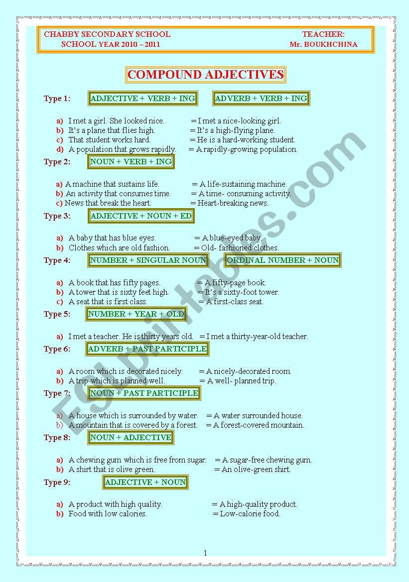 COMPOUND ADJECTIVES worksheet