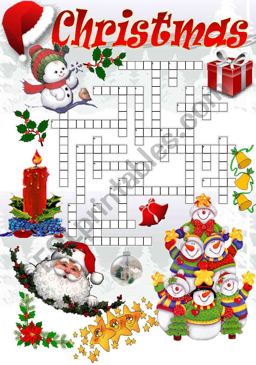 CHRISTMAS CROSSWORD (Part I) worksheet