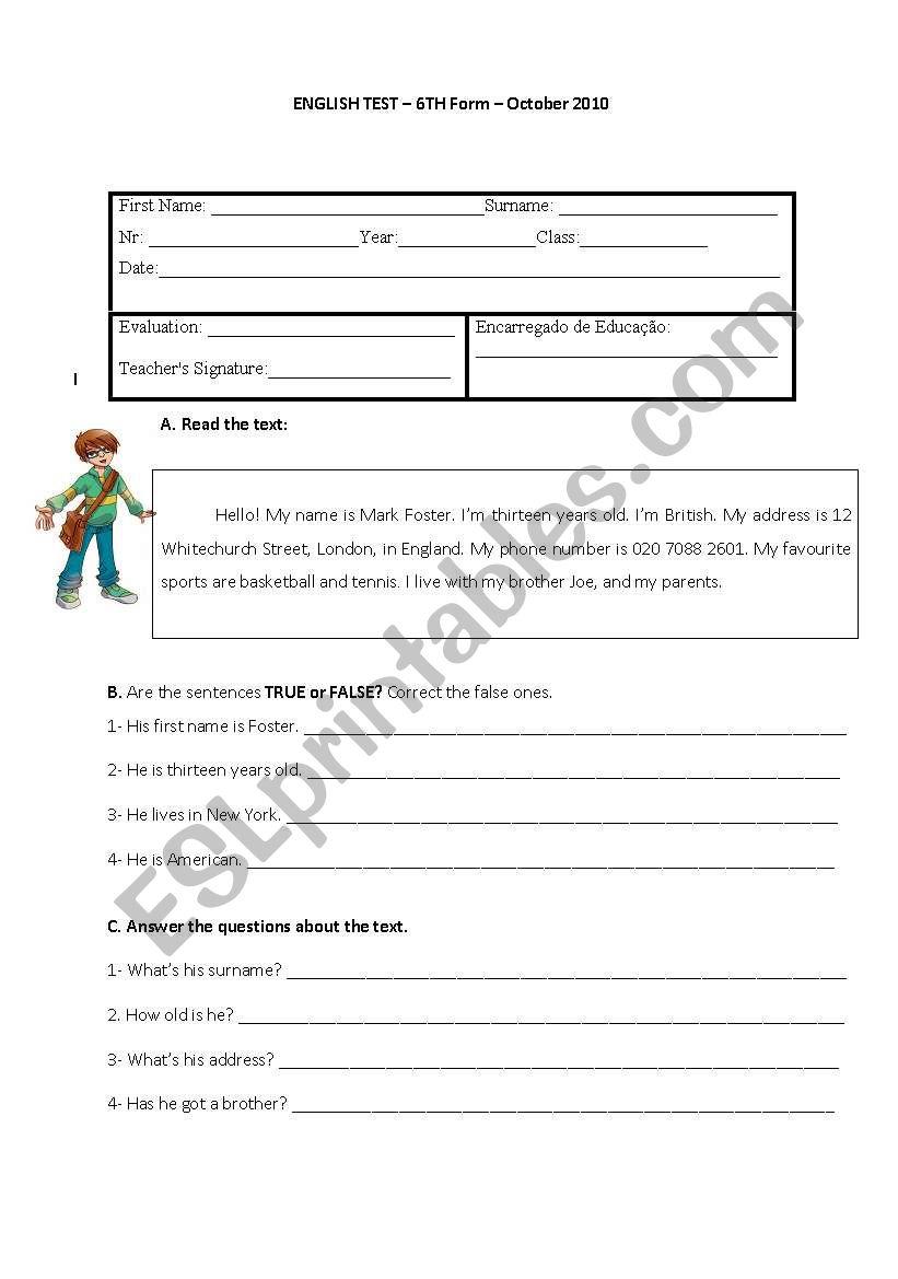 6th Grade English Test Worksheet
