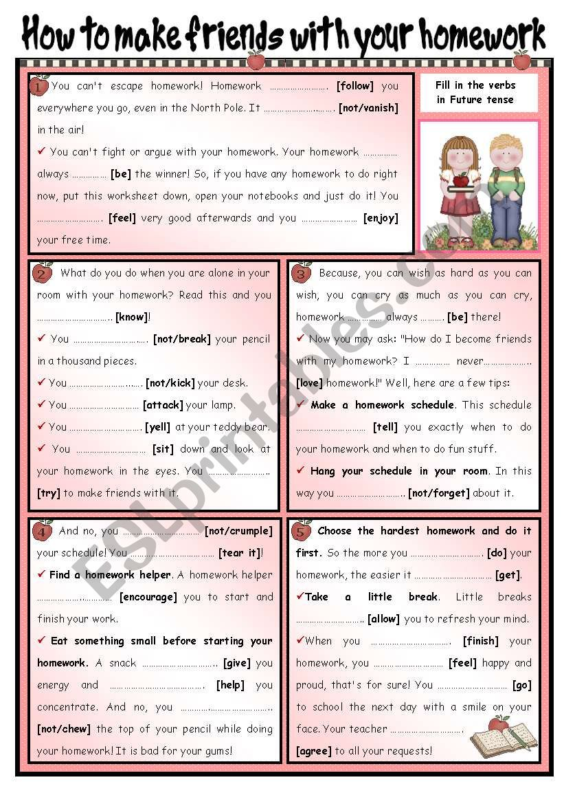 How to make friends with... your homework! Grammar: Future Tense