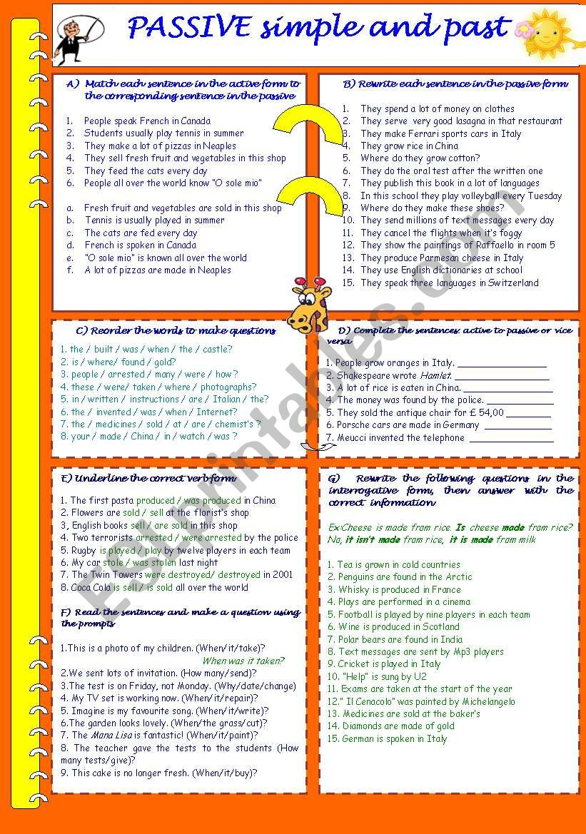 PASSIVE PRESENT AND PAST worksheet