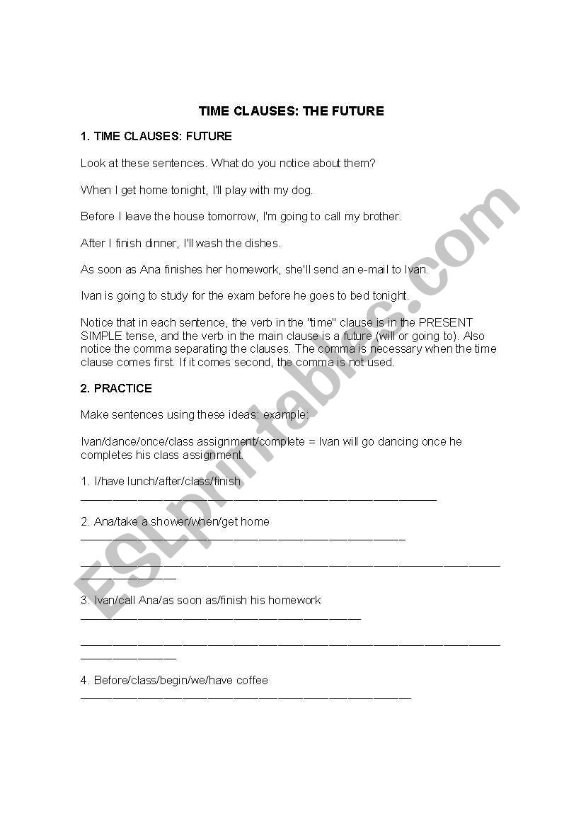 time clauses the future esl worksheet by lizgc7. Black Bedroom Furniture Sets. Home Design Ideas