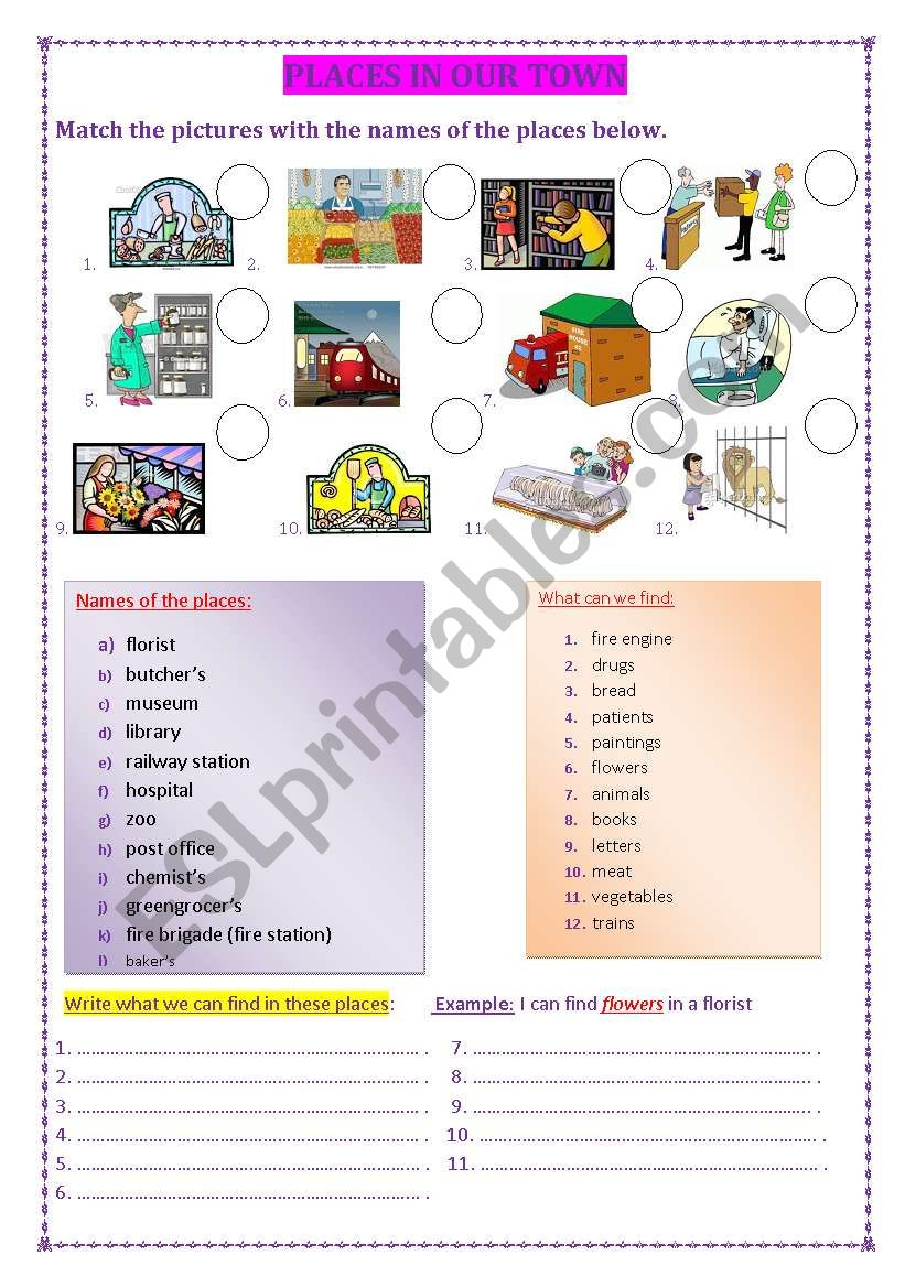 Places in our town worksheet