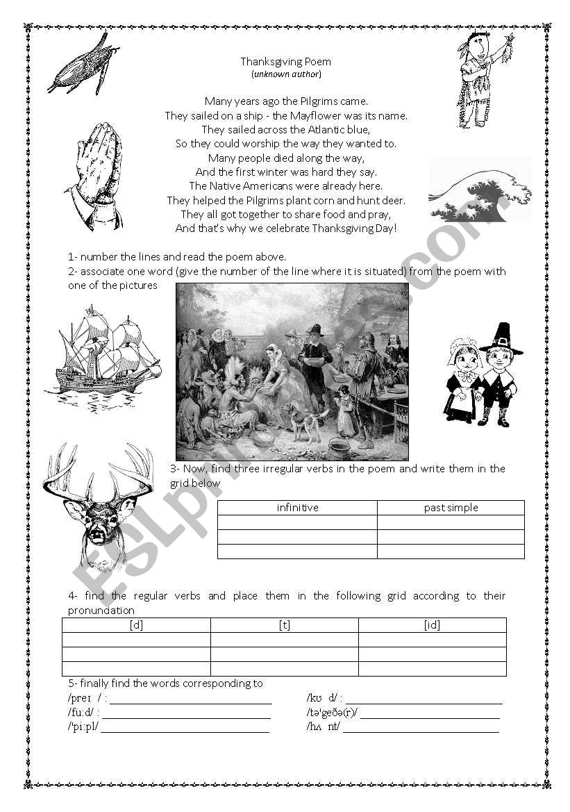 Thanksgiving poem worksheet