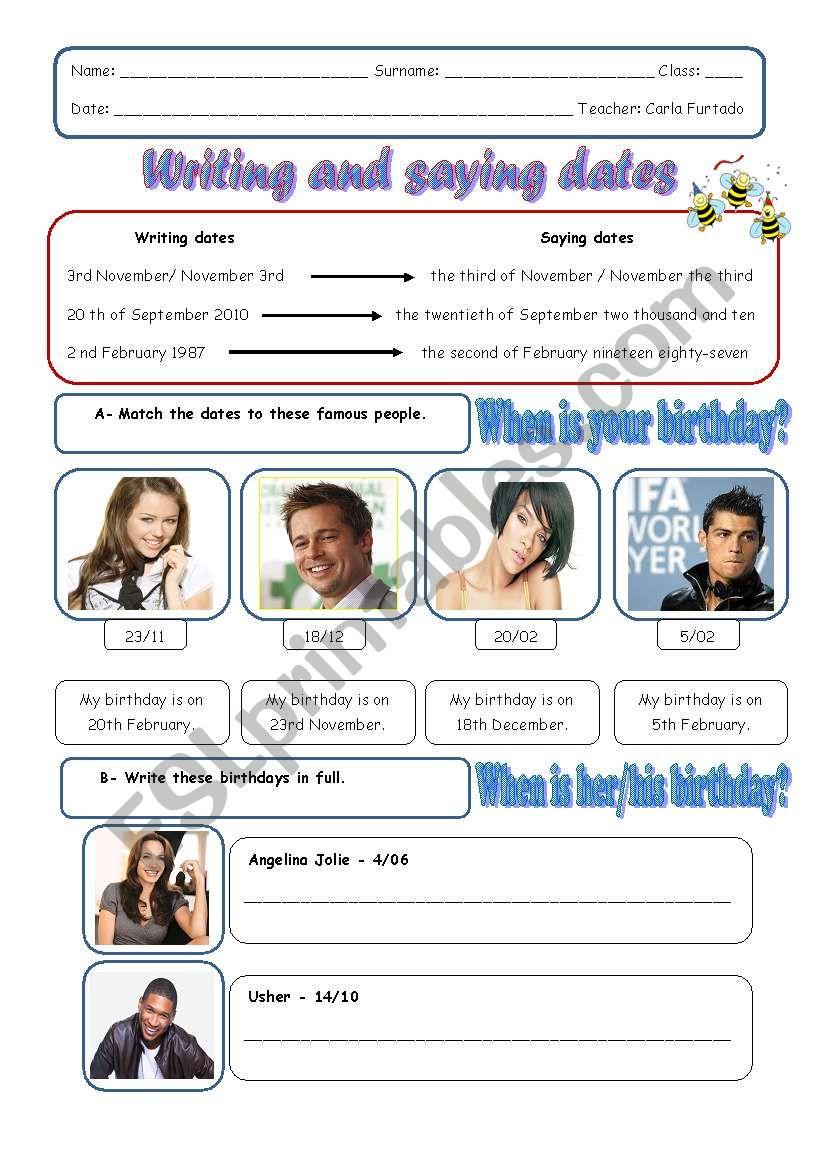 Writing and saying dates worksheet