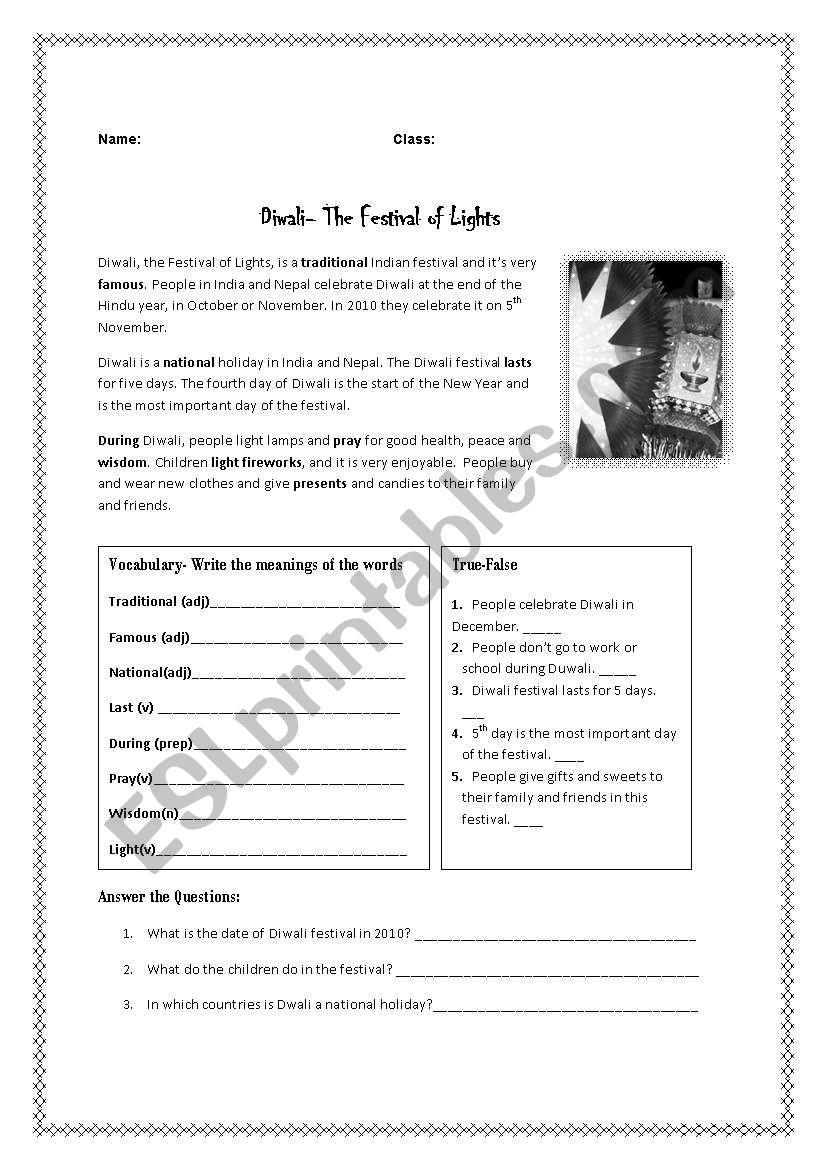 Diwali Festival Reading worksheet