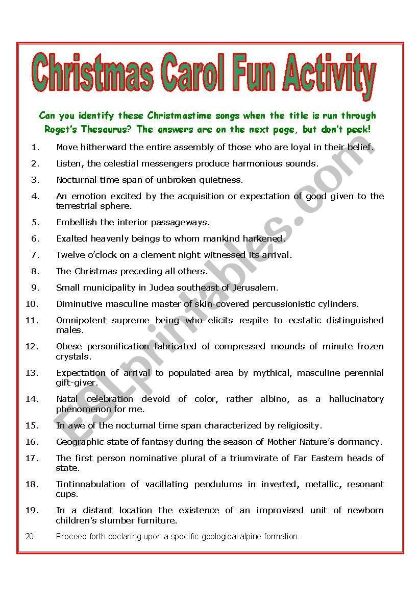 Guess The Christmas Carol Worksheet.Christmas Carol Fun Activity Esl Worksheet By Mulford