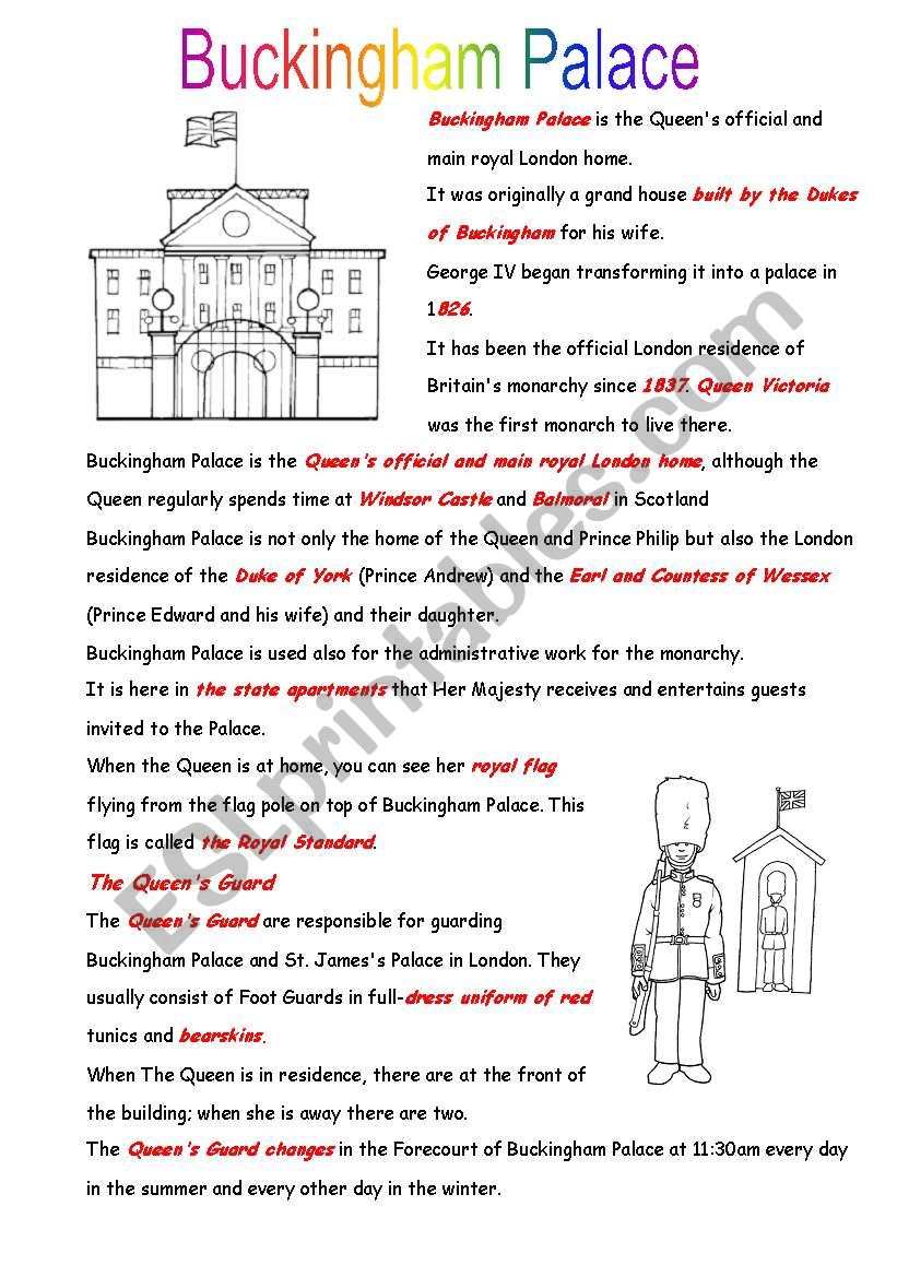 Buckingham palace worksheet