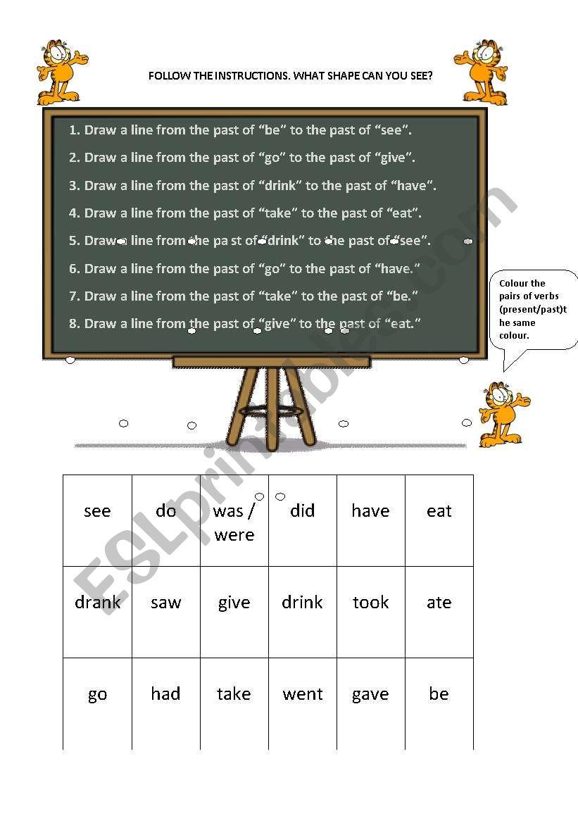 past form of verbs worksheet