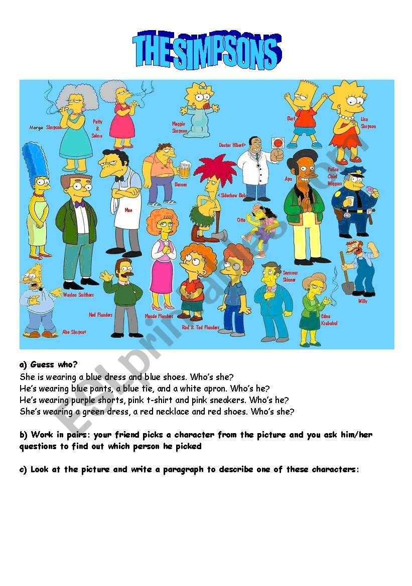the simpsons description worksheet