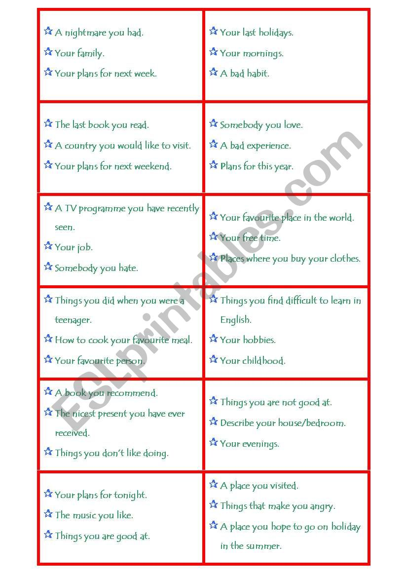 Choose and Talk worksheet