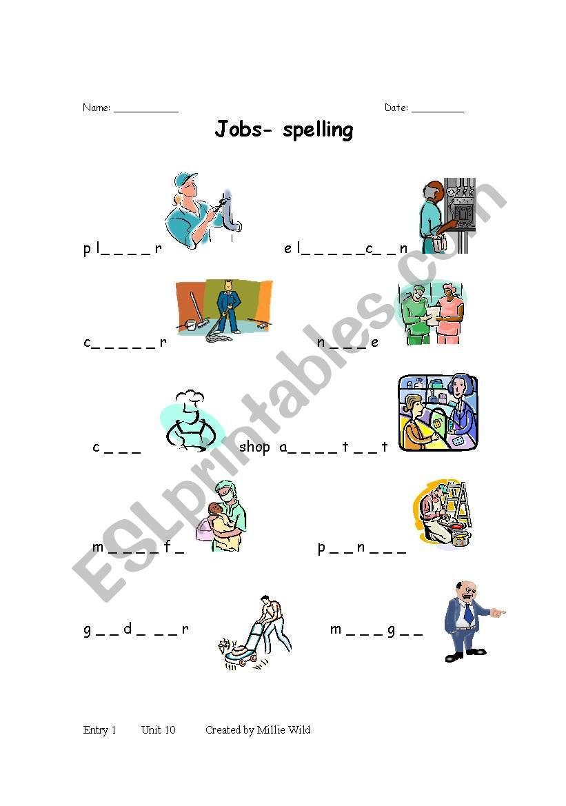 English worksheets: jobs spellings