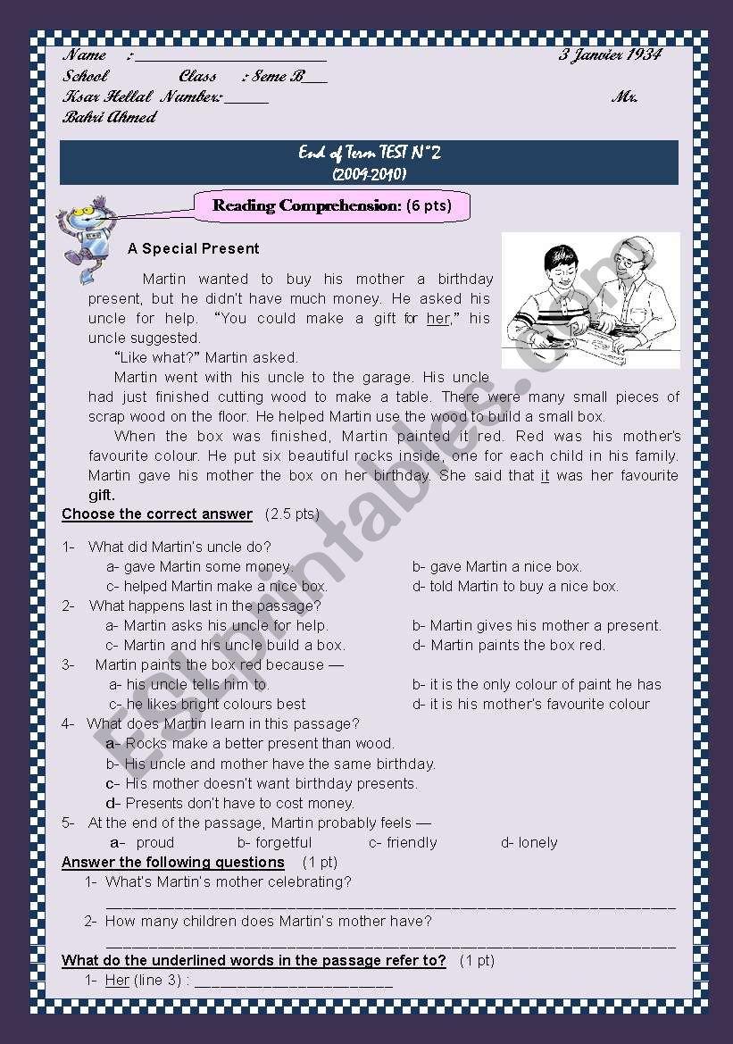 End of Term Test N: 2 Grade 8 worksheet