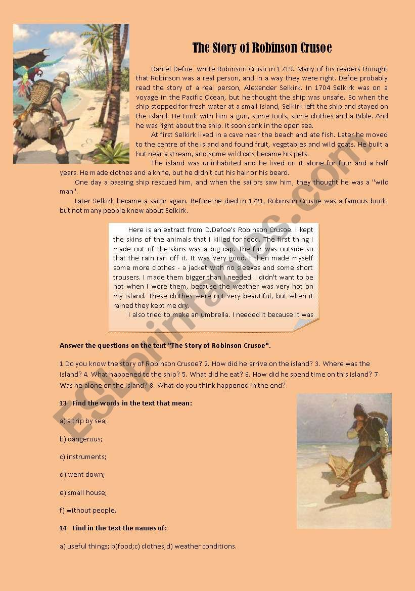 the story of Robinson Crusoe worksheet