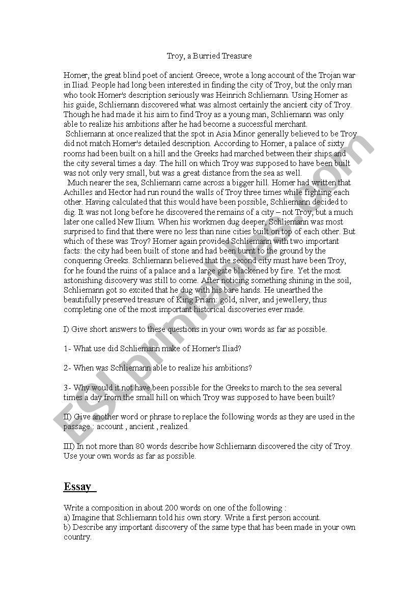 Troy, a Burried Treasure - ESL worksheet by Nebal