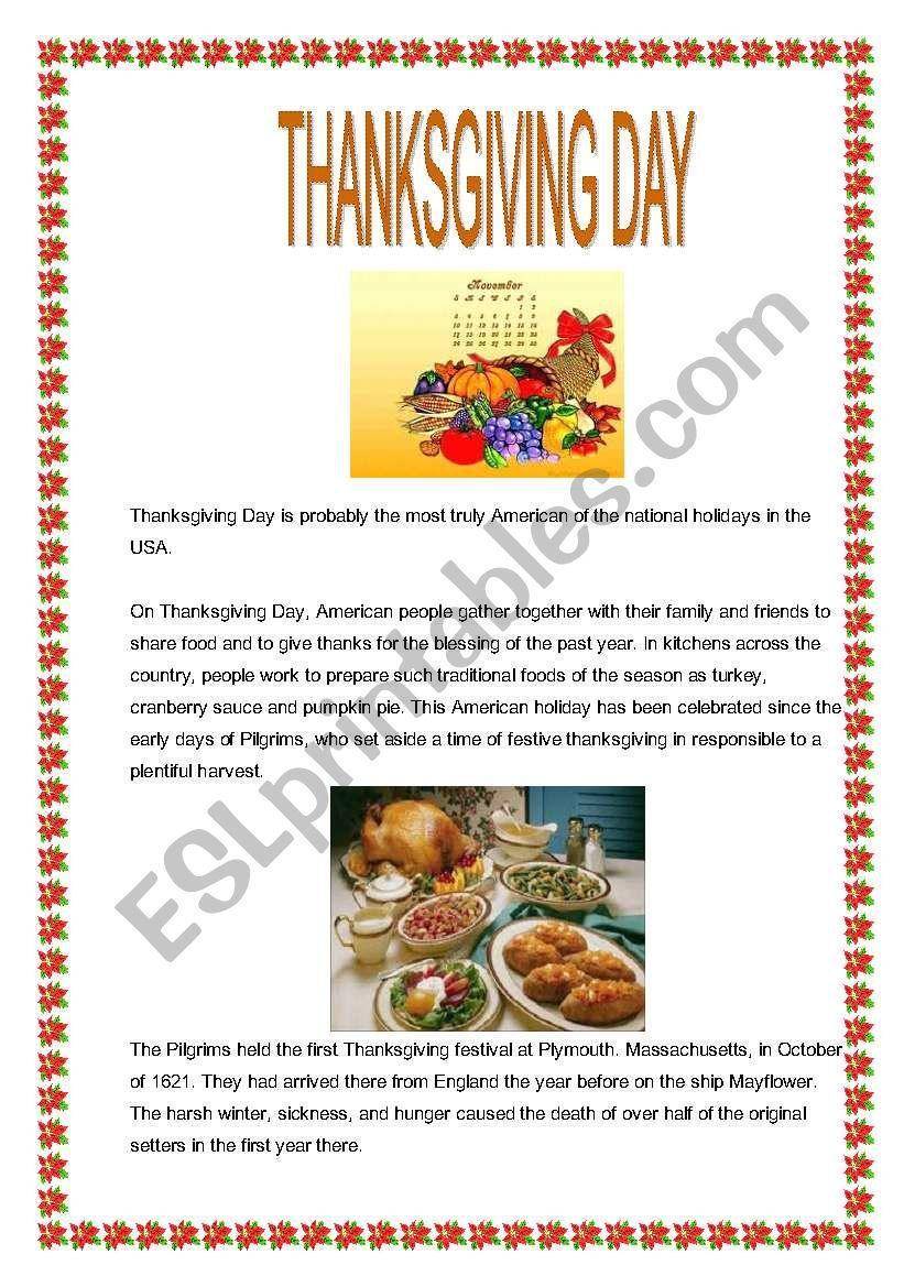 Thanksgiving Day worksheet