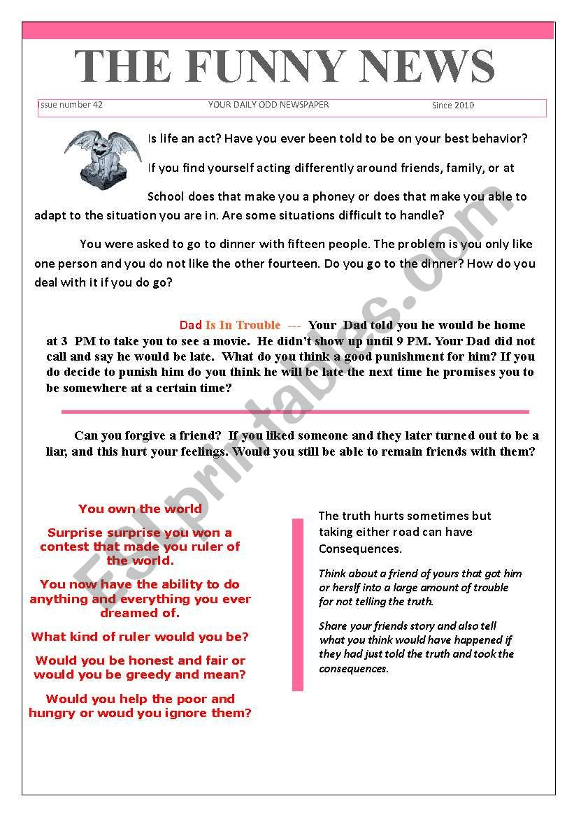 42 the funny news worksheet