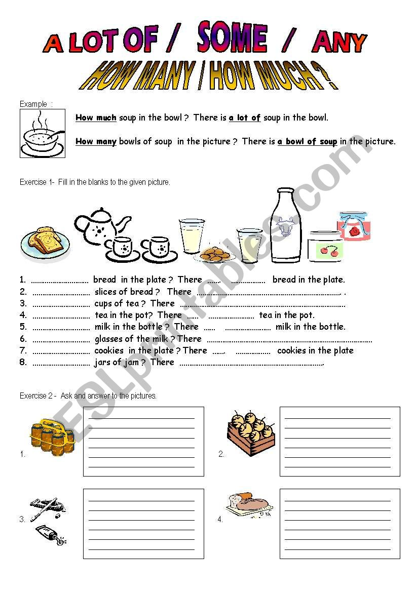 Quantities  worksheet