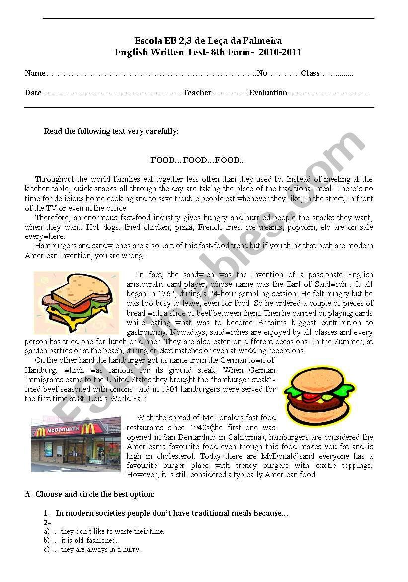 Test- 8th Form worksheet