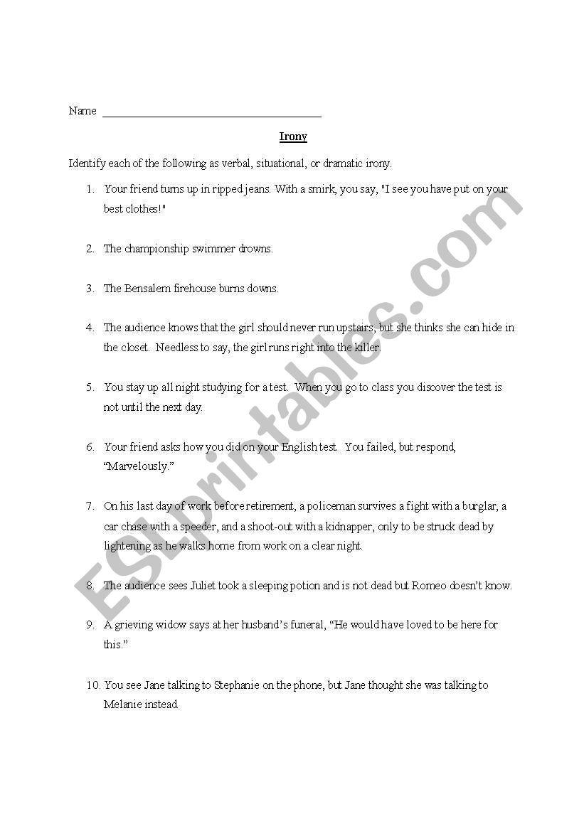 English Worksheets Irony
